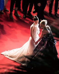 """fuckitfireeverything:   queencate: Cate Blanchett   and Rooney Mara   attend the Premiere of """"Carol"""" during the 68th annual Cannes Film Festival on May 17, 2015 in Cannes, France.  #hades pulling persephone into the underworld on may 17 2015 in cannes france(via xjehan)"""