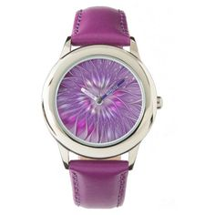 Pink Purple Flower Passion Abstract Fractal Art Wrist Watch