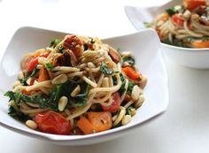 Spaghetti, yam, pine nuts, kale, etc.