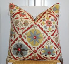 Beautiful Decorative Pillow Cover - 20 x 20 - Floral - Red - Yellow - Brown - Teal - Tan. $42.00, via Etsy.