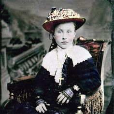 Eliza Girl Lace Gloves Flower Hat Tinted Tintype Fine by maclancy, $24.00
