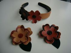 Diadema en cuero Leather Carving, Leather Art, Leather Necklace, Leather Jewelry, Leather Accessories, Hair Accessories, Leather Flowers, Handmade Flowers, Jewelry Design