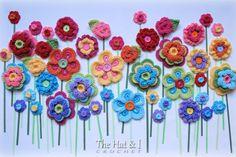 CROCHET PATTERN Floral Fantasy 5 bunte Blume von TheHatandI