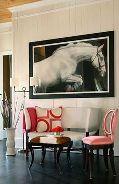 Modern horse sitting area. Want the photo! But would do the seating area in a more traditional fashion. Not a fan of modern decor.
