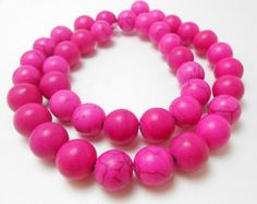 20 Hot Pink Perlen 10MM rund Howlith Perlen (H237)