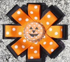 Halloween Bow Pumpkin Bow Halloween Hair Bow Pumpkin by bowsforme, $7.00