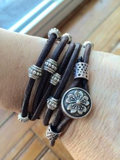 Dark brown suede cord wrap bracelet with silver by IndieLeather