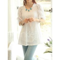 Elegant Scoop Neck Hollow Out Solid Color 1/2 Sleeve Women's Blouse