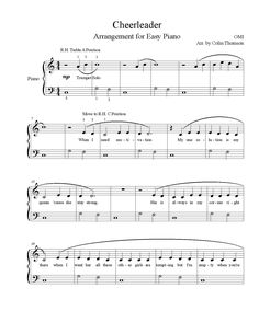 Cheerleader by OMI Arrangement for Easy Piano: Free sheet music! Piano teacher resource: http://sightreadingacademy.com/cheerleader-by-omi-free-piano-sheet-music/