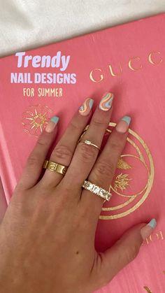 Stylish Nails, Trendy Nails, Spring Nails, Summer Nails, Sun Nails, Hippie Nails, Star Nail Designs, Lines On Nails, Fall Acrylic Nails