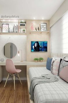 Small Room Bedroom, Room Ideas Bedroom, Small Rooms, Bedroom Decor, Bed Room, Girls Bedroom, Girl Rooms, Tiny Spaces, Small Space