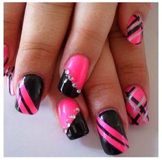 Beautiful pink and black nails