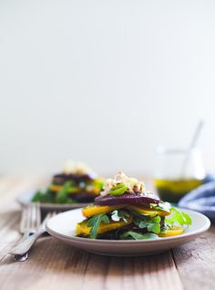 Stacked Beet Salad with Crispy Shallots and Herb-Infused Oil