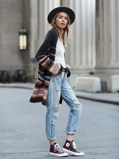 Geometric cardigan and chucks