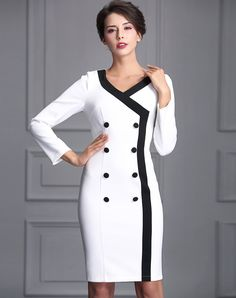 Check the details and price of this Double Breasted V-neck Sheath Midi Dress (White, BAOYAN) and buy it online. VIPme.com offers high-quality Sheath Dresses at affordable price.