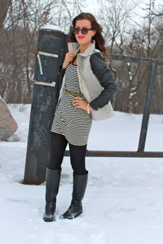 dress with tights and boots.  leather jacket instead