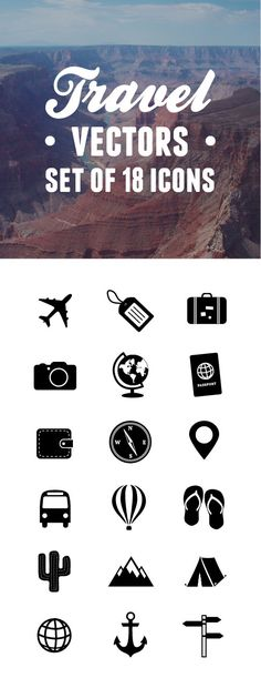 Super cute set of 18 travel vector icons. Could be a great idea for a travel blog logo!