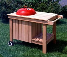 weber grill cart diy woodworking projects plans my Grill Stand, Grill Cart, Woodworking Projects Plans, Diy Woodworking, Woodworking Classes, Barbecue Weber, Barbecue Grill, Weber Charcoal Grill, Grill Table