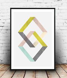 Geometric art print, abstract poster, minimalist art, Scandinavian art, Home… Geometric Wall Art, Abstract Wall Art, Geometric Designs, Geometric Shapes, Diy Wall Art, Modern Wall Art, Wall Prints, Poster Prints, Art Print