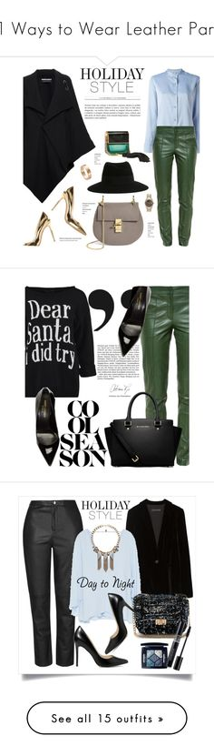 """11 Ways to Wear Leather Pants"" by polyvore-editorial ❤ liked on Polyvore featuring leatherpants, waystowear, Roland Mouret, Helmut Lang, Gucci, Gianvito Rossi, Marc Jacobs, Maison Michel, Cartier and Chloé"