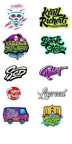 Logos / Prints part 3 on Behance Graffiti Lettering Fonts, Graffiti Words, Graffiti Writing, Typography Logo, Typo Logo Design, Typographic Design, Text Design, Lettering Design, Typography Inspiration