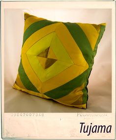Homemade patchwork yellow pillow :)    All by myself ;)