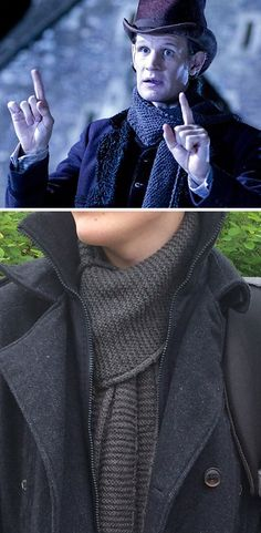"Free Knitting Pattern for Doctor Who The Snowmen Cometh Scarf - Samantha Stewart designed this scarf after the one worn by the Eleventh Doctor played by Matt Smith in the 2012 Doctor Who Christmas Special ""The Snowmen"". Pictured project by noddingviolets"