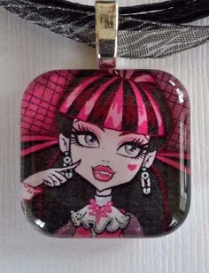 DRACULAURA MONSTER HIGH 1 inch glass tile, silver plated.  PENDANT NECKLACE #Unbranded