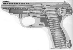 The futuristic looking Heckler & Koch VP70 (VP standing for Volkspistole/ People's Pistol) was the first production polymer handgun.  The VP70 was chambered in 9mm and fed from a double stacked 18-round magazine. This was a marked increase on the earlier HK4.  A limited run of civilian variant pistols, the VP70Z, were also chambered in 9x21mm for the Italian market.