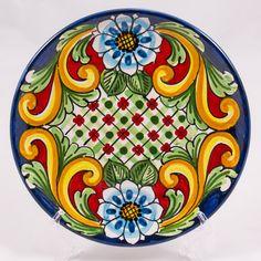 #Souvenir #Plate: #Italy. #Sicily. Blue Flowers and Cells. #Caltagirone #Ceramics. Hand Made. Diameter 20 cm
