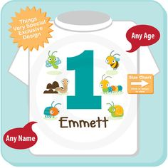 Boys One Year Old Bug Birthday Shirt Or Onesie With Name 1st Personalized Theme 09012014c