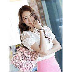 Korea Star Fashion 퍼프소매와 샤쉬폰배색믹스 은은하면서 여성스러운느낌 허니샤베트블라우스 - 39,800원 by 제이드