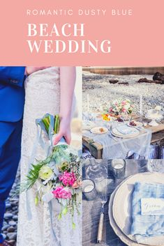 An intimate beach wedding on the Washington coast with dusty blue and pops of fuscia.