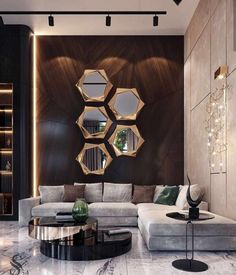 33 Amazing Luxury Living Room Designs Look Classy - Luxurious living room spells different to everyone but each of us has a common notion of what is luxurious and not. While some people's standards of l. Living Room Sofa Design, Living Room Goals, Home Room Design, Interior Design Living Room, Living Room Ideas Villa, Modern Living Room Designs, Modern Living Room Decor, Mirror Decor Living Room, Classy Living Room