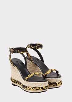 Gold Hibiscus Print Sash Wedges from Versace Women's Collection. Wrapped in Versace - wedges embellished by silk foulard details in the Gold Hibiscus print. Featuring a Gold Hibiscus toe and ankle straps. High Wedges, Black Wedges, Black Sandals, High Heels, Versace Gold, Versace Shoes, Ankle Strap Wedges, Ankle Straps, Italian Fashion