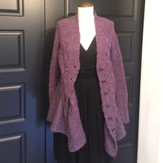 Free People Purple Knit Cardigan Sweater Size XS Pretty Free People Purple Knit Cardigan Sweater Size XS! Will fit a small also! See pretty button detail in pics! Clean from a smoke free home! Paid $145! Free People Sweaters Cardigans