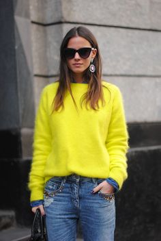 A bright fuzzy sweater to pump up your typical Winter hues.