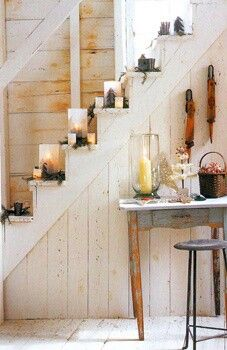 Rustic staircase with candles to light your way.