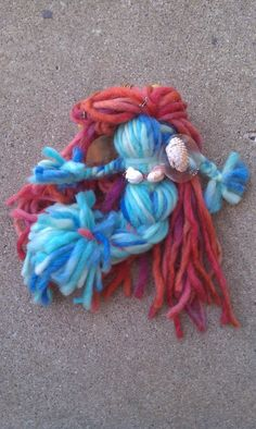 Items similar to Mermaid Yarn Doll on Etsy Cd Crafts, Yarn Crafts, Crafts For Kids, Kindness Elves, Yarn Dolls, Girl Scouts, Homemade Gifts, Crochet Baby, Geek Stuff