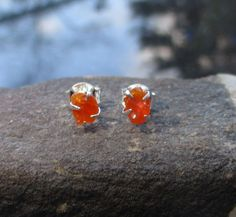 Fire Opal Stud Earrings Set in Sterling Silver, Raw Stone Crystal, Natural Red Mexican Opal, 5mm Small Stone, Oregon Gift, Gemstone Studs