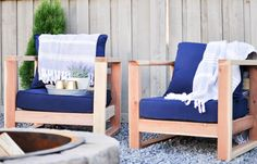 Build these comfy Modern Outdoor Chairs using only 2x4's. This chair sits a little low to the ground making it extremely comfortable to kick your feet out and relax around a fire or enjoy an evening with friends!