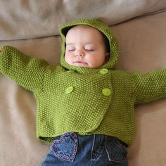 Double Breasted Seed Stitch Jacket, 3-24mths, 4.5mm