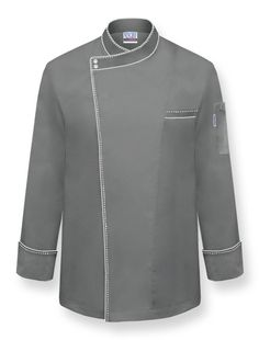 UNO Chef Coat Style: U2022 Charcoal Poly/Cotton Lightweight U2022 Long Sleeves U2022  Diagonally Apposed Collar U2022 Two Snap Closure At Neck With Hidden Buttons  Down Front ...