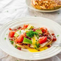 Corn and Chive Pancakes with Bacon and Eggs - amazing weekend breakfast, perfect way to start your day. Pancakes, eggs and bacon, perfection