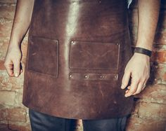 Brown leather apron custom made personalized laser by elliandhugo