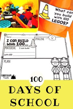 100 days of school STEM activity! Perfect way to kids to imagine, plan and build to celebrate the 100th day of school.
