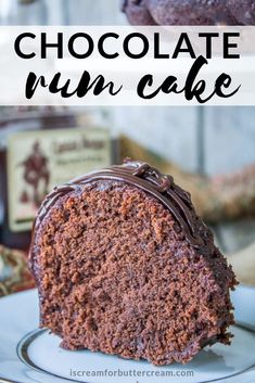 Not your average Chocolate Rum Cake. A spicy kick mixed into the cake batter, a rum glaze that's soaked into the cake and a nice chocolate drizzle on top. Chocolate Rum Cake, Chocolate Drizzle, Baking Recipes, Cake Recipes, Dessert Recipes, Bunt Cakes, Cupcake Cakes, Just Desserts, Delicious Desserts