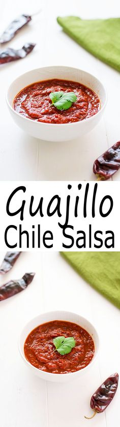 Step up your chip and dip game with this Mexian dried guajillo chile salsa. Slightly sweet and smoky, this salsa pairs wonderfully with pork! | Kitchen Gidget