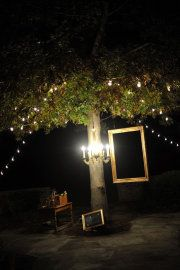 outdoor party idea ~ hang frame low enough that guests could step behind for pics :)