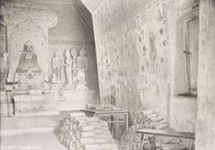 Photo by Aurel Stein from 1907 of Mogao Cave 16 at Dunhuang, with manuscripts from Cave 17.    ladfish.com